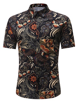 Tidebuy Stylish Floral Print Mens Short Sleeve Shirt