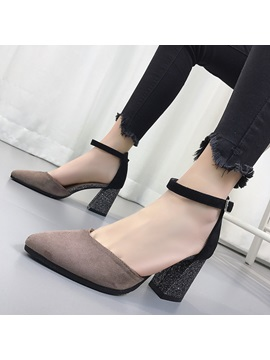 Pu Pointed Toe Patchwork Chunky Heel Womens Pumps