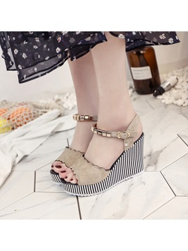 Pu Buckle Ankle Strap Plain Womens Wedge Sandals
