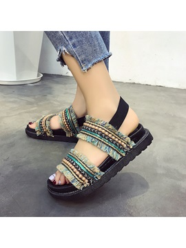 Cloth Elastic Band Open Toe Womens Flat Sandals
