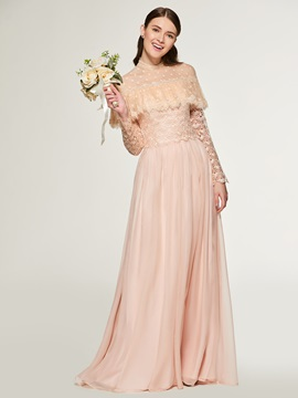 High Neck Lace Long Sleeve Bridesmaid Dress