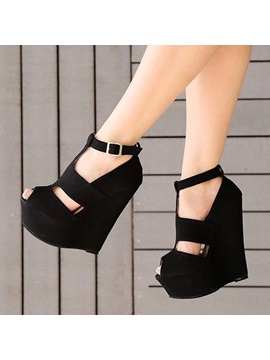 Plain Peep Toe T Shaped Buckle Wedges