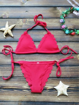 Halter Wave Cut Plain Bikini Set