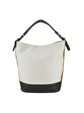 Barrel Shaped Color Block Tote Bag