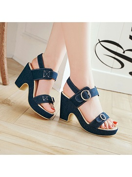 Denim Buckle Open Toe Ankle Strap Wedge Sandals