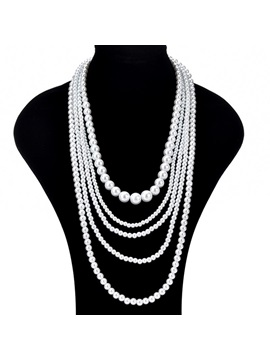 Multi Layer Beads Pearl Decorated Wedding Chain Necklace