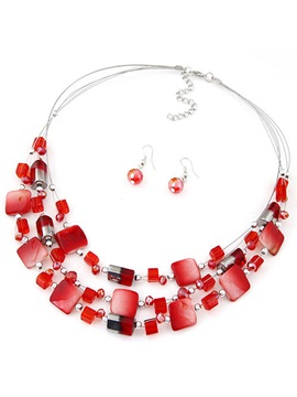 Bohemian Multilayer Imitation Crystal Beach Jewelry Sets