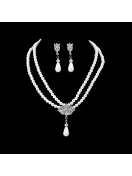 Elegant Pearl Inlaid Rhinestone Necklace Earrings Jewelry Sets