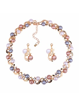 Two Tone Pearl Inlaid Earrings Necklace Party Jewelry Sets
