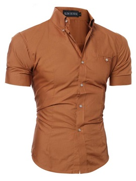 Plain Casual Mens Short Sleeve Shirt