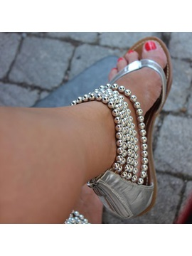 Tidebuy Beading Ankle Wrap Flat Sandals