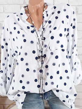 Tidebuy Multi Colors Polka Dots Womens Blouse