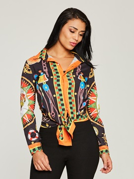Single Breasted Printed Lapel Womens Blouse