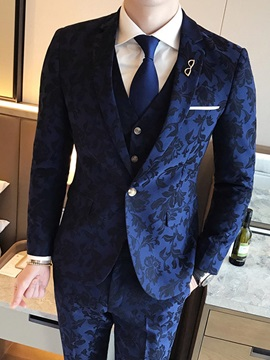 Tidebuy Floral Print One Button Mens Three Piece Suit