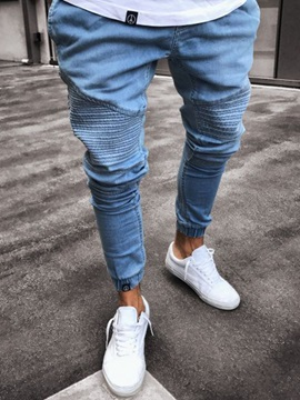Tidebuy Pleated Skinny Mens Plain Thin Jeans