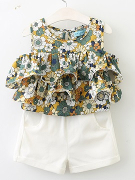 Falbala Sleeveless Floral Girls Suit
