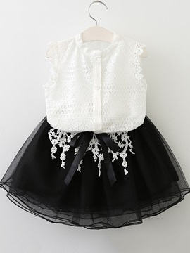 Sleeveless Lace Single Breasted Girls Suit