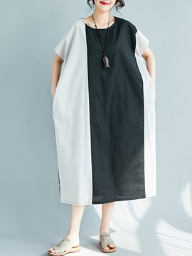 Tidebuy Batwing Patchwork Womens Casual Dress