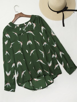Pleated V Neck Print Womens Blouse