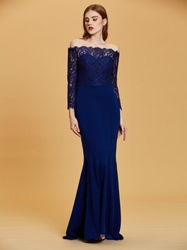 Off The Shoulder Long Sleeves Mermaid Evening Dress