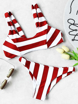 White Red Stripe Fresh Bikini Suits