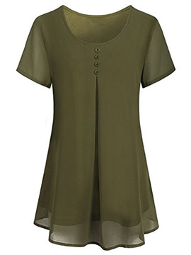 Mid Length Pleated Loose Plain Womens Blouse