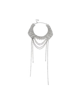Sparkling Rhinestone Decorated Tassel Clavicle Chain Necklace