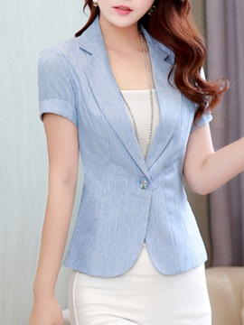 Notched Lapel Short Sleeve Womens Blazer