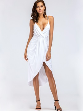 Tidebuy Asymmetric Sexy Deep V Womens Dress