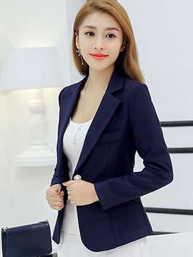 Ol Style Notched Lapel Slim Womens Blazer