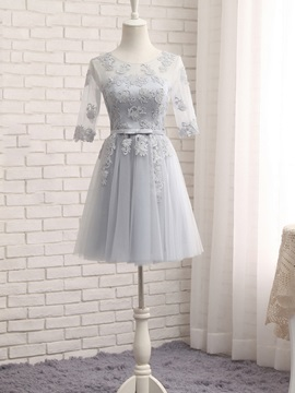 Appliques Belt Short Bridesmaid Dress
