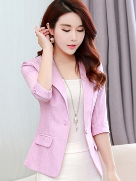 Three Quarter Sleeve Notched Lapel Womens Blazer
