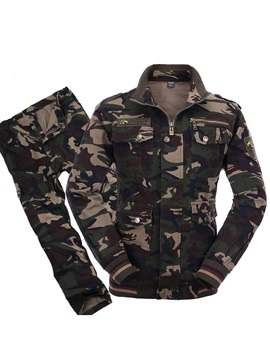 Camouflage Two Pieces Mens Tracksuit Outfits