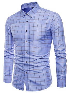 Tidebuy Solid Color Plaid Mens Dress Shirt