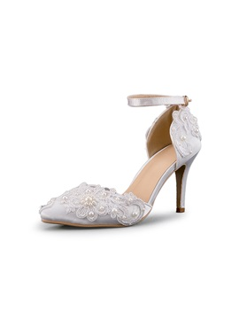 Pu Beads Floral Line Style Buckle Wedding Shoes