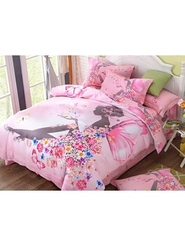 Flower Fairy Printed Cotton 4 Piece Pink Duvet Covers Bedding Sets
