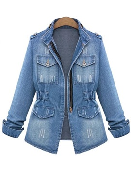 Zipper Denim High Neck Slim Womens Jacket