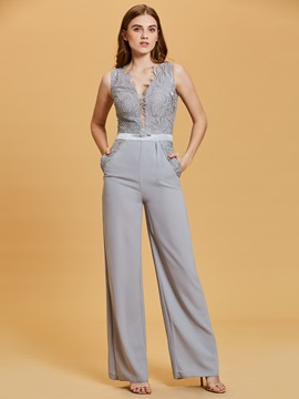 V Neck Up Lace Appliques Jumpsuits