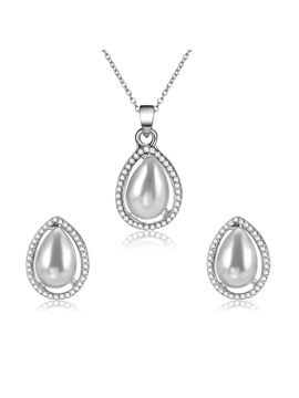 Silver Water Drop Shape Pendant Two Piece Jewelry Sets
