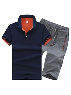 Tidebuy Short Sleeve Polo And Shorts Mens Cotton Sports Suit