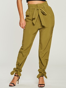 Plain Bowknot Pocket Womens Harem Pants