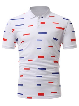 Tidebuy Red And Blue Stripe Mens White Polo