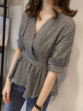 Lantern Sleeve V Neck Plaid Womens Blouse
