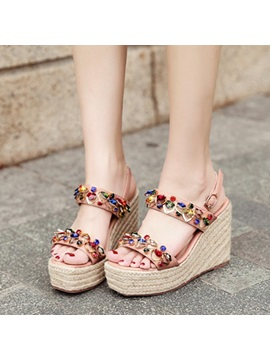 Rhinestone Ankle Strap Wedge Heel Womens Espadrille Sandals