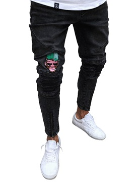 Tidebuy Monkey Print Zipper Mens Black Skinny Jeans