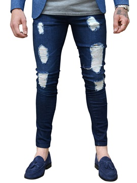 Tidebuy Hole Low Waist Mens Skinny Jeans