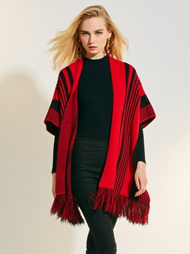 Color Block Wrapped Womens Cape