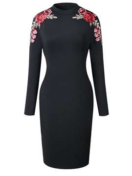 Tidebuy Embroidery Stand Collar Womens Bodycon Dress