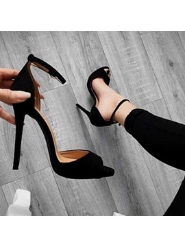 Plain Peep Toe Stiletto Black Heel Pumps