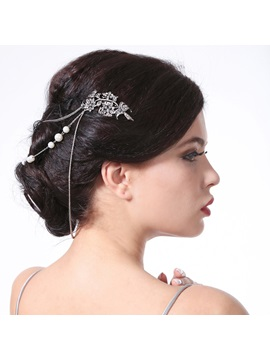 Vintage Petal Shaped Rhinestone Pearl Party Wedding Hair Comb